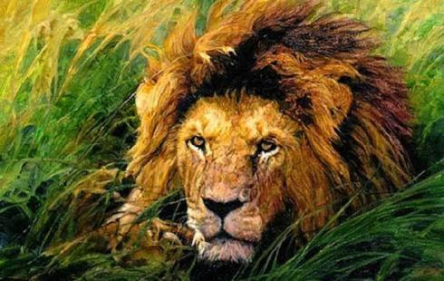 Τὸ παιδὶ καὶ τὸ ζωγραφισμένο λιοντάρι.